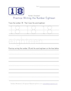 Writing Number Eighteen 18