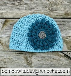 Ravelry: Basic Double Crochet Beanie pattern by Oombawka Design.. Free pattern for flower too!!