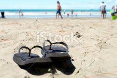 Summer, Jandals on the Beach Royalty Free Stock Photo Rabbit Island, Abel Tasman, Kiwiana, New Zealand Travel, South Island, Travel And Tourism, Beach Photos, Image Now, National Parks