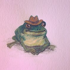 ROSIE baby would you please draw a little cowboy frog. your art is so clean and simple i love it This is the opposite of clean and simple Yeehaw. Photo Wall Collage, Collage Art, Arte Hippy, Frog Drawing, Frog Art, Arte Obscura, Cute Frogs, Funny Frogs, Arte Sketchbook