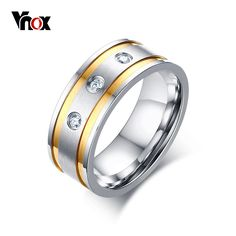 Vnox Fashion Ring for Men 3 CZ Stones Silver Gold-color Anniversary Wedding Band Ring Gift Party Daily Jewelry #Affiliate