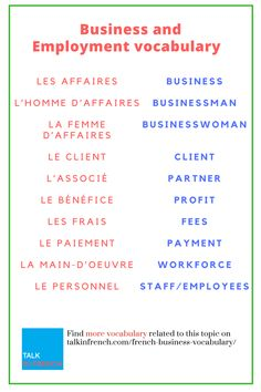 Want to learn French for business? Polish up your French Vocabulary for the corporate world right now. + download the list in PDF format for free! Get it here:  https://www.talkinfrench.com/french-business-vocabulary/