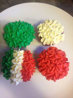 Italian flag homemade chocolate cupcakes with fresh buttercream