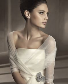 Sheer Shawls With Brooch Accessories Wedding Gowns By Pronovias 2012 ::Y