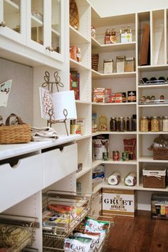 Pantry Shelves Design Ideas, Pictures, Remodel, and Decor - page 9.  I like the added countertop space.