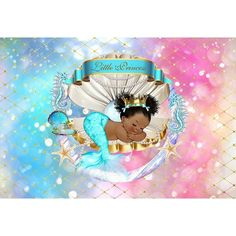 Royal Mermaid Princess Backdrop Under The Sea Shell Crown Baby Shower Background Black Girl Birthday Party Banner Backdrops Mermaid Baby Showers, Baby Mermaid, Mermaid Princess, Crown Background, Baby Shower Background, Little Girl Photography, Party Photography, Flower Photography, Prom Backdrops