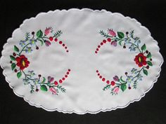 Hungarian Kalocsa Hand Embroidered Oval Doily Colorful 16x11