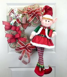 Excited to share this item from my shop: Elf wreath. Red and green wreath. Christmas wreath for the front door. Diy Christmas Elves, Diy Christmas Decorations Easy, Xmas Wreaths, Christmas Centerpieces, All Things Christmas, Door Wreaths, Diy Wreath, Christmas Front Doors, Green Wreath