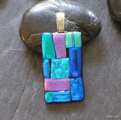 Fused dichroic glass pendant, blues, greens, pink, handmade