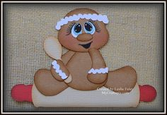 Gingerbread Rolling Pin Christmas Premade by MyCraftopia on Etsy
