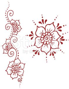 Henna Inspired Flower Ornaments - Hand Rendered Drawing royalty-free stock vector art