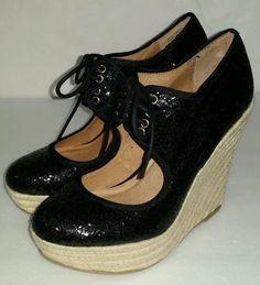 4dafbc224b18a Aldo Wedge Platform Espadrille Almond Toe Black Glitter Lace Up Shoes Size  7 US  ALDO