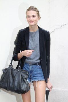 black & leather blazer + denim shorts.