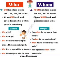 Who vs Whom? Do you know the differences between who vs whom in English? Read the lesson below and find them out! Grammar Tips, Teaching English Grammar, Grammar And Punctuation, English Writing Skills, English Vocabulary Words, English Phrases, English Language Learning, English Lessons, Learn English