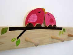 Mother and Baby Bird Peg Rack Hot Pink  by MapleShadeKids on Etsy, $69.00