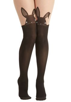 Hop in Your Tracks Tights by Pretty Polly - Black, Print with Animals, Quirky, Critters New Outfits, Cute Outfits, Cool Tights, Fashion Shoes, Fashion Accessories, Thigh High Socks, Stocking Tights, Lingerie, Tight Leggings