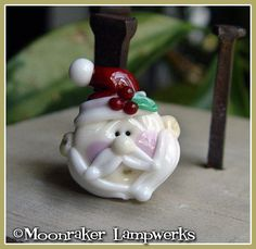 ***MADE TO ORDER***      This Santa has a flat back and a different look than the fully round one I also have listed. Each one is hand-shaped and