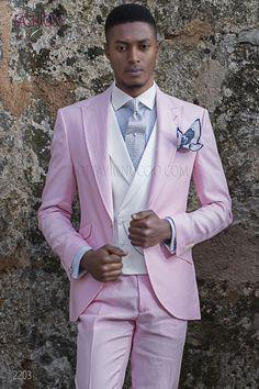 Abito da matrimonio estivo sposo puro lino rosa. Completo ONGala 2203 Abiti  Mattina 8538a760a70
