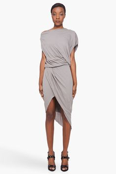 Helmut Lang - Grey Feather Jersey Dress