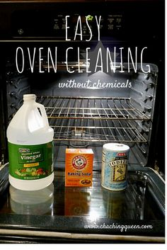Oven cleaner: spray w/ 1:2 vinegar/water, sprinkle w/ soda and salt, spray again. Leave overnight. Spray again. Wipe clean
