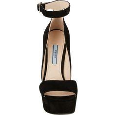 Prada Ankle-Strap Platform Sandals featuring polyvore, fashion, shoes, sandals, heels, clothing, high heels, heeled sandals, platform heel sandals, prada sandals, ankle strap sandals and high heels stilettos