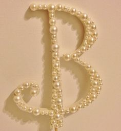 Pearl Monogram Cake Topper  White or Ivory by LLBridalDesigns, $26.50