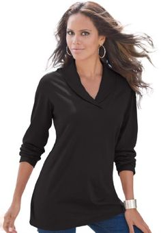 Roamans Women's Plus Size Shawl Collar Ultimate Tee (Black,3X) Roamans,http://www.amazon.com/dp/B005GPSPU6/ref=cm_sw_r_pi_dp_y34dtb02C7654S36