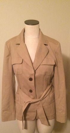 Nice!  Talbots Italy Wool Blazer Belted Jacket Womans 8 #Talbots #Trench