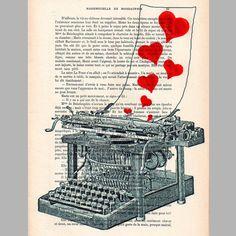 Love letter ORIGINAL ARTWORK  on 1920 Parisien by Cocodeparis, $10.00