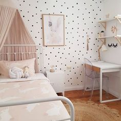 5 Beautiful and Stylish Blush Kid's Rooms - Petit & Small We've found some kids rooms that have used blush beautifully -some with a lot of blush others with just a hint. It's a beautiful, soft and stylish colour. Cool Kids Bedrooms, Girls Bedroom, Cozy Bedroom, My New Room, My Room, Casa Kids, Polka Dot Walls, Polka Dot Nursery, Room Stickers