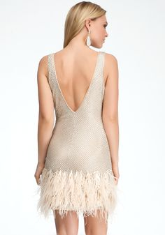 bebe Feather Trim Sequin Studded Dress