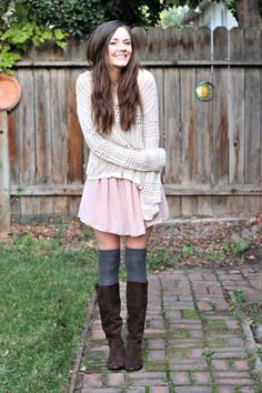 sweater over a dress with tall boots - Find 150+ Top Online Shoe Stores via http://AmericasMall.com/categories/shoes.html