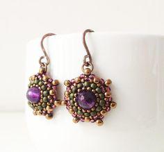 Handmade amethyst and seed bead earrings in bronze by Craftduck