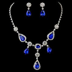 Silver Clear & Multi Blue Stone Necklace & Earrings Bridal Jewelry Set 12055