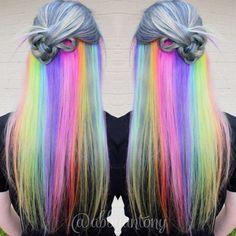 The Underlights Hair Color Trend — Secret Rainbow Hair Color Ombré Hair, Dye My Hair, Grey Nail Designs, Hair Designs, Hair Color 2016, Hidden Rainbow Hair, Pelo Multicolor, Underlights Hair, Bright Hair Colors