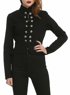 Black Military Button Jacket | Hot Topic