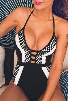 Sexy Women Halter Padded Cut Out Backless One-Piece Swimwear Bathing Suit