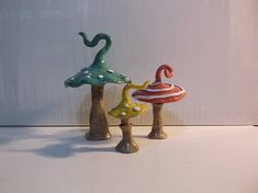 Whimsical Alice in Wonderland Inspired Toadstools, Set of 3 Mushrooms, Handcrafted,
