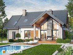 Dom w wetiweriach Modern Pool House, Modern Pools, Bungalow House Design, Small House Design, House Deck, Hamptons House, Home Design Plans, Pool Houses, Log Homes