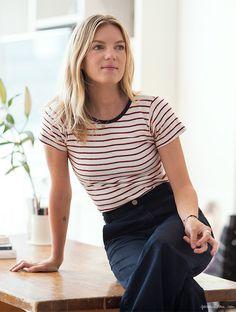 Hayley Phelan by Garance Doré // striped tee & high-waisted pants #style #fashion #stripes