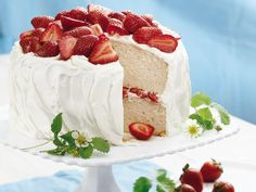 Strawberry Yogurt Cake--This is a great cake.  I even skip the fresh strawberries and go with just the frosting between layers.