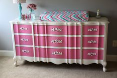 DIY Pink and White upcycled dresser for a little girl's nursery.