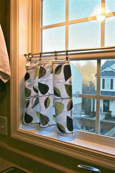 Get privacy without full curtains: tension bar, drapery clips, & hand towels (or sew own curtains)