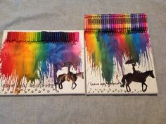 Leave only hoof prints crayon melting project. I got the silhouette off the internet and looked up horse quotes.