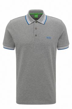 Regular-fit polo shirt in knitted piqué Silver from BOSS Green for Men in the official HUGO BOSS Online Store free shipping