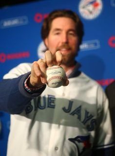 The Toronto Blue Jays introduced former Mets Cy Young winner R. Dickey on Jan. 2013 at Rogers Centre in Toronto. Blue Jay Way, Go Blue, Baseball Gear, Sports Baseball, Baseball Toronto, Mlb Teams, Sports Teams, Mlb Players, American League