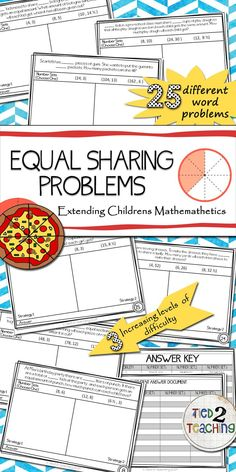 25 Equal Sharing Problems is a must have for any classroom. Perfect for helping students continue to build their number sense, fractional knowledge and extend their mathematical thinking, these problems are also designed to allow you to seamlessly differentiate within your classroom! Extending Children's Mathematics. Cognitive guided Instruction. CGI.