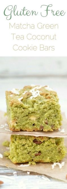 Gluten Free Matcha Green Tea Coconut Cookie Bars. How to bake with matcha. Easy matcha dessert. Gluten free cookie bar recipe. Matcha green tea recipe.  via @fearlessdining