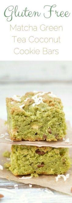 Gluten Free Matcha Green Tea Coconut Cookie Bars. How to bake with matcha. Easy matcha dessert. Gluten free cookie bar recipe. Matcha green tea recipe. via @fearlessdining