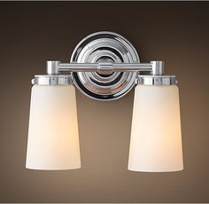"""Asbury Double Sconce from Restoration Hardware.  Available in Satin Nickel, Polished Chrome, and Polished Nickel. Overall: 11""""W x 6""""D x 9½""""H Backplate: 5"""" diam."""